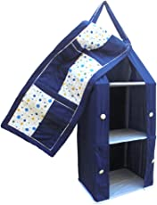 SRIM Kid's Polyester Hanging Foldable Polka Dots Baby Almirah with Collapsible Wardrobe (95x35x25cm, Blue, SMC0089)