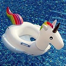 YEZOU Flotador para Bebé Anillo de Natación Unicornio con apoyabrazos y asiento para niños de 2