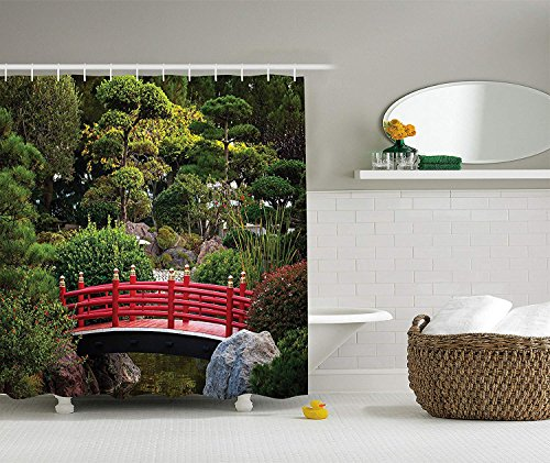 Apartment Decor Collection, Tiny Bridge over Pond Japanese Garden Monte Carlo Monaco Along with Trees and Plants, Polyester Fabric Bathroom Shower Curtain, 84 Inches Extra Long, Red Green