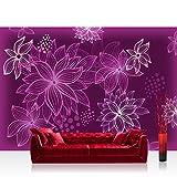 Vlies Fototapete 416x254cm PREMIUM PLUS Wand Foto Tapete Wand Bild Vliestapete - Blumen Tapete Blüten Punkte Kunst lila - no. 2886