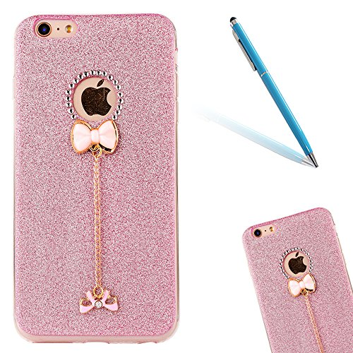 "iPhone 5s Handyhülle, iPhone SE Tasche, CLTPY Elegante Sparkly Series Slim Fit Silikon Cover, Kreativ Bling Diamant Bowknot Design Abdeckung für 4.0"" Apple iPhone 5/5s/SE + 1 x Stift - Grün 1 Rosa 1"