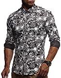 LEIF NELSON Herren Kurzarm Hemd Slim Fit Langarm Kurzarmhemd Freizeithemd Freizeit Party T-Shirt LN3525; XL, Schwarz-Weiß