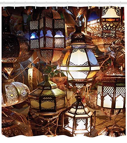 Marokkanische Laternen Set (ABAKUHAUS marokkanisch Duschvorhang, Abend arabische Laterne, mit 12 Ringe Set Wasserdicht Stielvoll Modern Farbfest und Schimmel Resistent, 175x200 cm, Lila Braun Grün)
