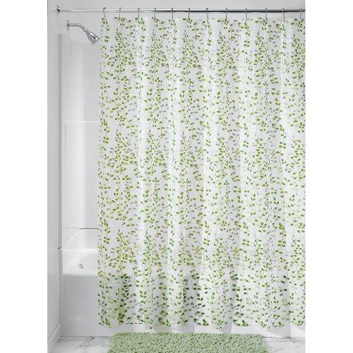 iDesign Botanical EVA/PEVA Duschvorhang aus EVA, wasserdichter Vorhang für Badewanne und Dusche in 183,0 cm x 183,0 cm, grün/weiß