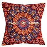 Stylo Culture Indische Dekokissen für Betten Maroon Printed Peacock Eye Kissenbezug 40cm X 40cm Baumwolle Traditionelle 40x40 cm Mandala Square Dekokissen (1 Pc)
