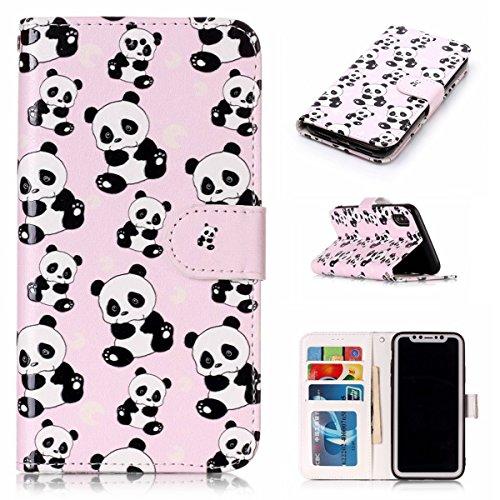 inShang Custodia per iPhone X 5.8 inch con design integrato Portafoglio, iPhoneX 5.8inch case cover con funzione di supporto. + inShang Logo pennino di alta classe Panda