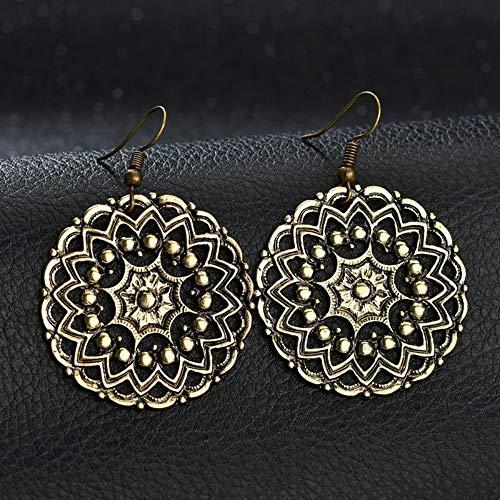 XAFXAL Signora Orecchini,Moda Vintage Bohémien di Etnia Tibetana Cavo Argento Orecchini Tondi Scolpiti Fiori Orecchini Oro Donna