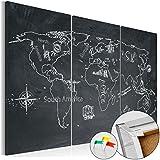 Novedad! Tablero de corcho 60x40 cm � 3 Partes - Cuadro sobre corcho Mapamundi Mundo Continente k-C-0043-p-a 60x40 cm B&D XXL