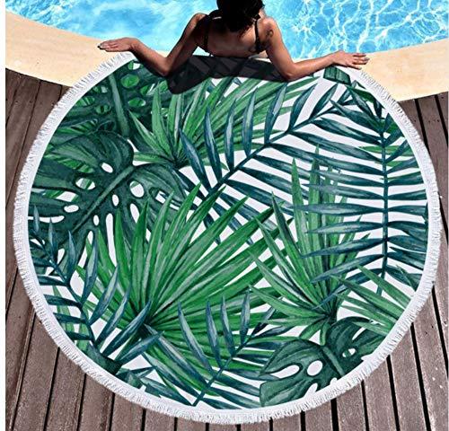 Vanzelu Tropische Palmblätter Runde Strandtücher 150x150cm Mikrofaser Große Handtücher Grüne Pflanze Gedruckt Badetuch Super Soft Yoga Matte Picknick Outdoor