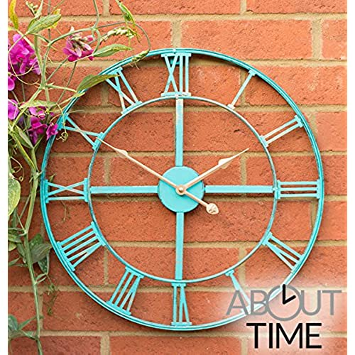 Metal Garden Clock In A Patina Turquoise Painted Finish   Outdoor Garden  Decor Wall Clock   46cm