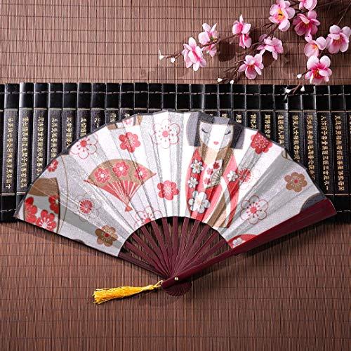 Fan Hand große Geisha Herbst Zeit asiatische Kultur orientalische Vintage National Design Kunst mit Bambus Rahmen Quaste Anhänger und Stoffbeutel Hand Fan für Frauen traditionelle japanische Fan Fold