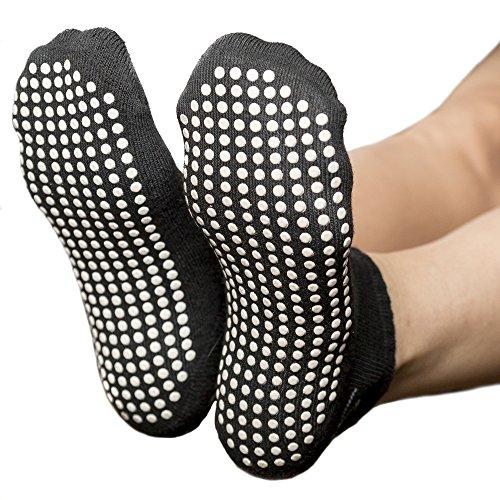 Skyba Anti Rutsch Socken Stoppersocken Noppensocken für Damen- Grips für Barre, Pilates, Yoga, Schwangerschaft- (Multi Pack) (EU 38-41, 2-Paar Schwartz)