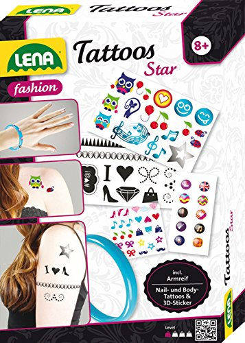 Lena 42432 - Fashion Set Tattoos Star, Set zum Stylen mit Bodytattoos, 10 Fingernägel Tattoos, 10 Sticker 3D für Handy's und Armreifen aus Kunststoff, Mode und Schmuck Bastelset für Kinder ab 8 Jahre