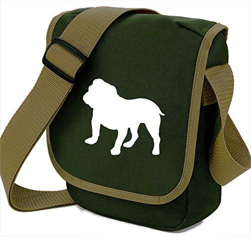 Bag Pixie ,  Unisex Erwachsene Umhängetaschen White dog on Olive bag