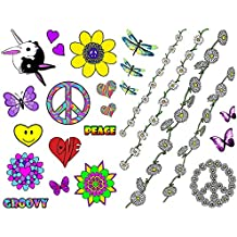 25 Hippy 60's 70's Flower Power Daisy Chain Fancy Dress Temporary Tattoos Party,Peace,Hearts, Funky Festival, Buttefly, Dragonfly, Costume/Outfit Accessories
