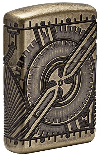 61qFMLN1RTL - Zippo Unisex's Armor Steam Punk Skull Lighter, Antique Brass, regular