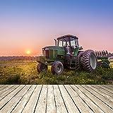 azutura Grüner Traktor Wandbild Sonnenuntergang Foto-Tapete Wohnzimmer Schlafzimmer Wohnkultur Erhältlich in 8 Größen Extraklein Digital