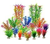 LYNKO Künstliche Wasserpflanzen–Aquarium Pflanzen Kunststoff Aquarium Dekorationen–Vivid Simulation, Creature Aquarium Landschaft–Home Decor Kunststoff Farbe Sortiert–16