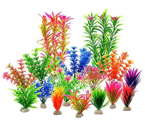 LYNKO Künstliche Wasserpflanzen für Aquarien, Kunststoff, natürlich wirkende Kunstpflanzen, verschiedene Farben, 16-teiliges Set