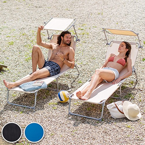TecTake Gartenliege Sonnenliege Strandliege Freizeitliege mit Sonnendach 190cm -diverse Farben- (Schwarz) - 2