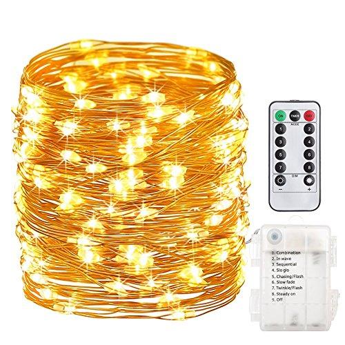 GDEALER 10M 100er LED Lichterkette 8 Modi Außenbeleuchtung Batteriebetrieben Kupferdraht Wasserdicht IP65 mit Fernbedienung für Outdoor, Innenbeleuchtung, Garten, Hochzeit, Party, Weihnacht (Warmweiß)