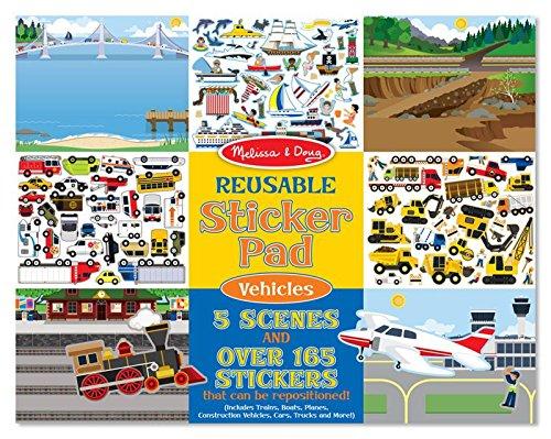 Melissa & Doug 14199 Block mit Wiederbenutzbaren Stickern - Fahrzeuge, Mehrfarben (Scrapbooking Straße)