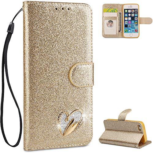 iPhone 5 Hülle Leder,iPhone 5S Handyhülle Gold,FNBK Glitzer Liebe Herz Diamond Ledertasche Schutzhülle Wallet Flip Case Tasche Kartenfächer Stand Magnetverschluß Klapphülle für iPhone 5/5S/SE