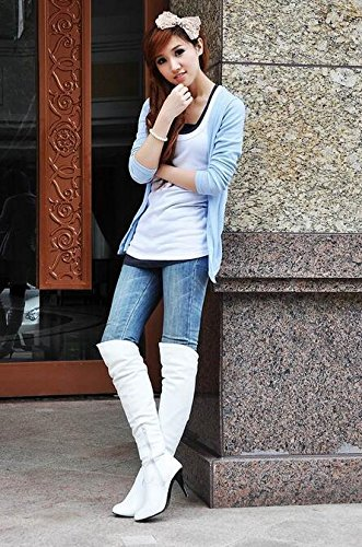 printemps automne bottes femmes bottes de genou bottes Chevalier blanc PU