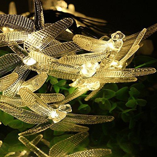LiteXim Guirlande lumineuse d'extérieur à énergie solaire avec 20 lumières LEDs en forme de libellules Pour le jardin, pelouse, arbre, terrasse, décoration florale d 4,8 m Blanc chaud