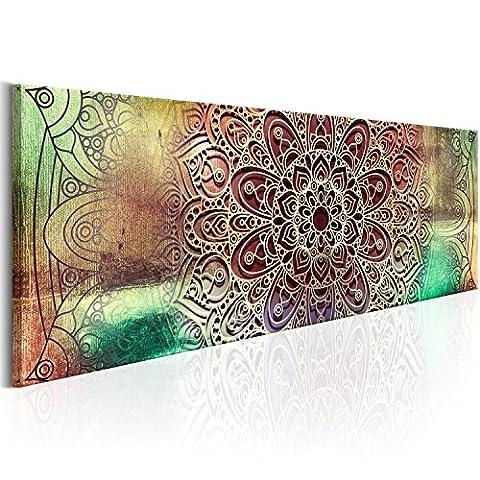 Bilder 135x45 cm Format! Fertig Aufgespannt TOP Vlies Leinwand - Abstrakt Wand Bild Kunstdrucke Wandbild Orient Mandala f-A-0587-b-a B&D