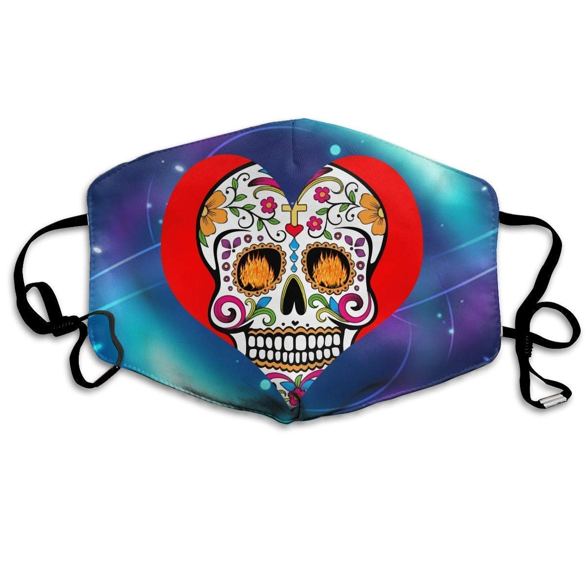 Daawqee Mascarillas, Sugar Skull Heart Colors Unisex Dust Allergy Flu Masks Cover Warm Respirator Germ Protective Breath Breath Healthy Safety Mouth Masks