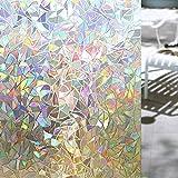 Shackcom Pellicola per Finestre Vetri Pellicola Finestre 3D Non Trasparente la Tutela della Vita Privata Controllo di Calore Anti-UV per Bagno Cucina Ufficio Colorato Effetto in Sole 60x200 CM S160
