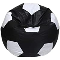 Maruti Fun Bags Leather Bean Bag Cover XXXL Without Beans Leather Football Shape (Black and White)