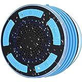 Enceinte Bluetooth Étanche Haut-Parleur Douche sans Fil Portable avec Basse HD, Radio FM, Effet LED Coloré, Forte Adhérence,