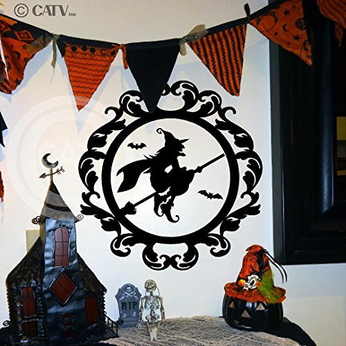 Halloween vinyl decal Frame #12 Flying Witch on Broom portrait vinyl lettering decal home decor wall art sticker (Large 21x22) by Wall Sayings Vinyl Lettering