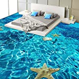 Chlwx 400cmX280cm (157.5inX110.157in) 3D Stereo Meer Seestern Bodenbeläge Tapeten Schlafzimmer Badezimmer Pvc Selbstklebend, Wasserfest Tragen 3D-Fliese Wandbild