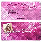 10 x Dankeskarten Danksagungskarten Geburtstag Hochzeit individuell - Glamour in Pink