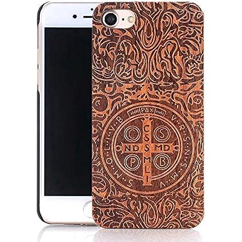 iPhone 6 Plus Caso, Vandot Funda Dura Elegante y Ligera Madera Cubierta Carcasa de Wooden Protector para el iPhone 6s Plus - Cruzar Cruz Cross