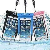 Funda de móvil impermeable, Paquete de 3 fundas universales impermeables UKCOCO para rafting, kayak, natación, canoa, pesca o esquí Apto para iPhone 6 6S Plus SE, Galaxy S6 S7 Edge