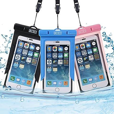 Pochette étanche, 3 UKCOCO Universel Etui Housse Pochette étanche Certifiée IPX8 Imperméable avec Courroie de Cou et Brassard pour iPhone 6s/6, iPhone 6 Plus, iPhone se, Samsung, Huawei, LG, Smartphone
