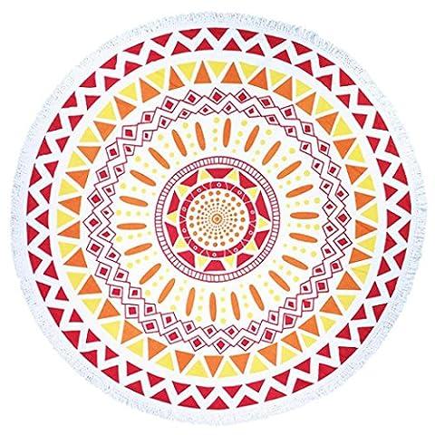 Serviettes de plage Ronde Round Hippie Tapisserie Plage Jetez Roundie Mandala Serviette Yoga Mat Feature Bohemian (59.1