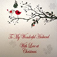WHITE COTTON CARDS To My Wonderful Husband with Love Handmade Christmas Card (Code xx14-25)