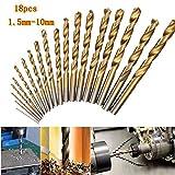 KUNSE 18Pcs Hochgeschwindigkeits-Stahl-Titan-Beschichtete Twist-Bohrer 1.5mm-10mm HSS 4241 Twist Drill Bit