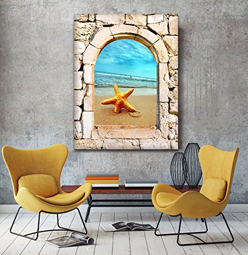 STAR Fish 3d vista da una pietra arco finestra Stampa su tela Wall Art, XL, (Archi Wall Art)