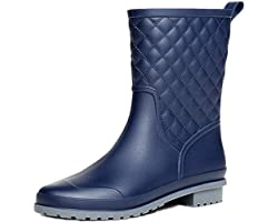 Wellington Boots for Women Ladies Mid Calf Rain Boots Wellies Boots Garden Shoes Black Khaki Blue Size 3-8 UK