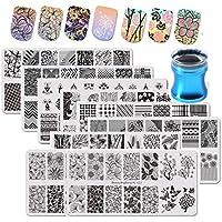 BEAUTYBIGBANG 9 piezas placas de estampacion de uñas plantillas para uñas + 1 pieza Estampador Stamping Nail Art