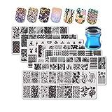 BEAUTYBIGBANG 9er Nagel Stamping Schablone Platte Set Nail Plates mit Silikon Transparent Stempel Stamper Maniküre Nail art