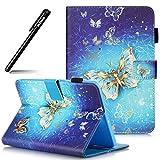 Hülle für Galaxy Tab S2 8.0 Leder,Case für Samsung Galaxy Tab S2 8.0,BtDuck Blau Handyhülle Tasche Glitzer Gold Brieftasche Schutzhülle Galaxy Tab S2 8.0 T715/T710 Silikon Lederhülle Wallet Case