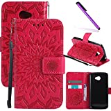 LG K5 Case LEECOCO Embossed Floral Wallet Case with Card