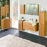 Lomadox Komplett Badezimmermöbel Set Bambus massiv lackiert, Waschtisch mit Mineralgussbecken, Spiegelschrank mit LED, Unterschrank breit mit Füßen, B x H x T ca.: 267 x 200 x 48,1 cm
